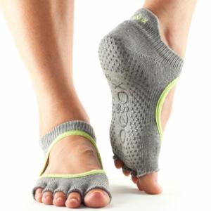 ToeSox Half Toe Bellarina Grip Socks in Heather/Lime